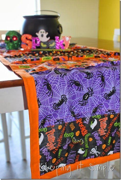 Cute Halloween rag table runner from @Kaysi Gardner