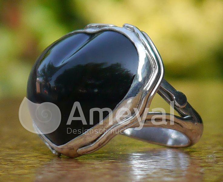 Heart - Silver ring with Rainbow-obsidian from Mexico