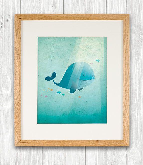 Blue whale art print, nursery, illustration, animal art, kid's room decor, children art on Etsy, 11,95€