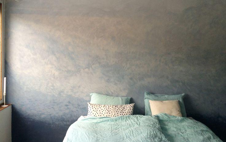 Ready #ombrewall #diy #project #bedroom #blue #home #liukuväriseinä #kalklitir #cobalto #concrete #marimekko #linensheets
