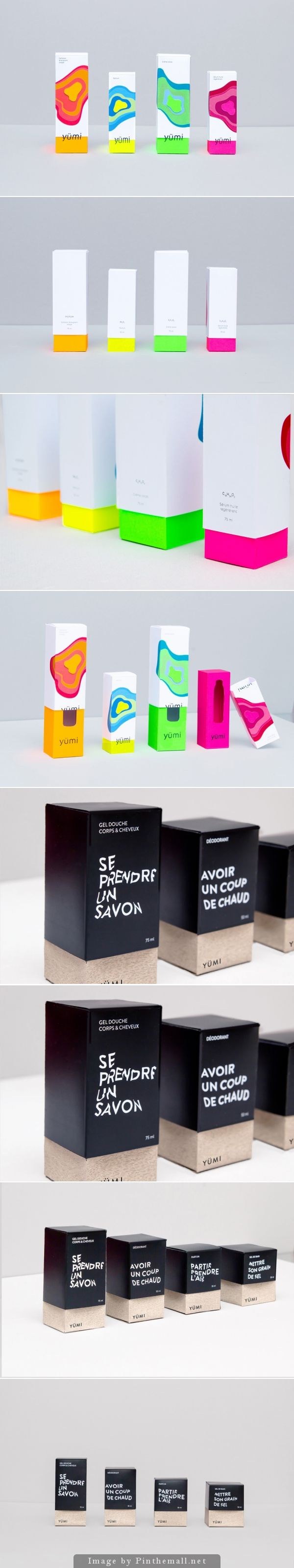 Yümi | unisex cosmetic brand | #packaging #design by Natacha Algani | The Dieline. Popular colors and great graphics PD