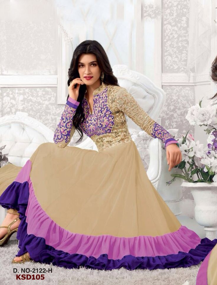 Colour: Cream & Purple Collection : KSD105 Top Fabric : Georgette Bottom Fabric : Santoon Innar Fabric : Santoon Dupatta Fabric : Nazneen Top Length : 55 (2 mtr) Bottom Length : (2.5 mtr) Dupatt Length : 2.25 mtr Work : Embroidered, Stone Work  Buy at Just 1699/-