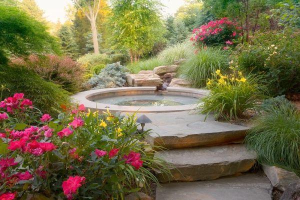 Landschaft design  Teich-treppenstufen aus naturstein- selbst anlegen