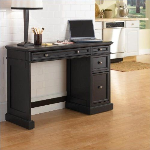 Home Styles 5003-791 Traditions Utility Desk, Black Finish by Home Styles. $363.03. This traditions utility desk has a drop-front center drawer which allows for optional use as a keyboard tray. Desk measures 43-3/4-inch width by 17-inch depth by 30-inch height. Made of asian hardwood and veneers. Comes in a black finish with brushed nickel hardware. Two storage drawers and a file drawer provide the necessary storage to stay organized. The traditions utility desk fea...
