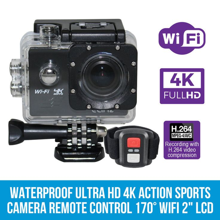 "Waterproof Ultra HD 4K Action Sports Video Camera Remote Control 170° WiFi 2"" LCD"