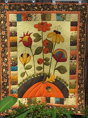 autumn wall hanging panel quilted: Quilts Patterns, Edge Appliques, Fall Flowers, Wall Hanging, Color, Cones Flowers, Autumn Wall, Art Quilts, Quilts Ideas