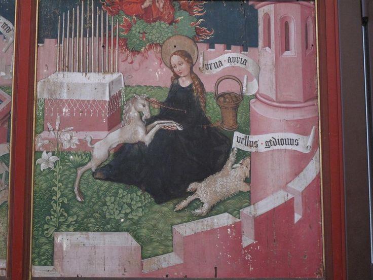 http://allpainters.ru/img/stories/paintings/altarpiece-of-the-dominicans-the-mystical-hunt.jpg  Altarpiece of the Dominicans: The Mystical Hunt - Мартин Шонгауэр.
