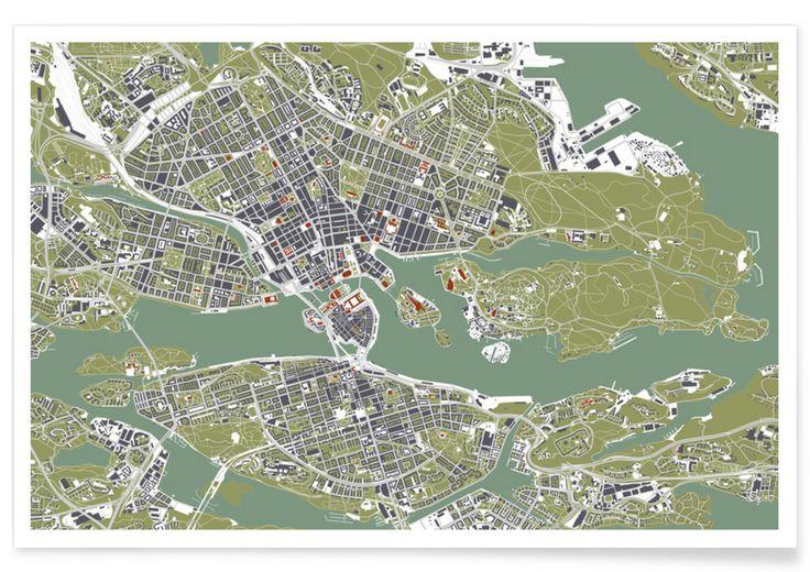 Stockholm- Engraving as Premium Poster by Planos Urbanos   JUNIQE