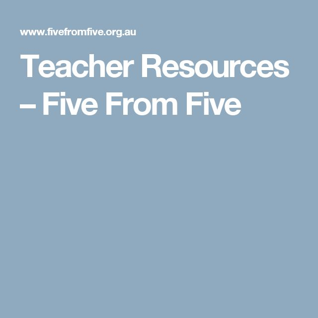 Teacher Resources – Five From Five
