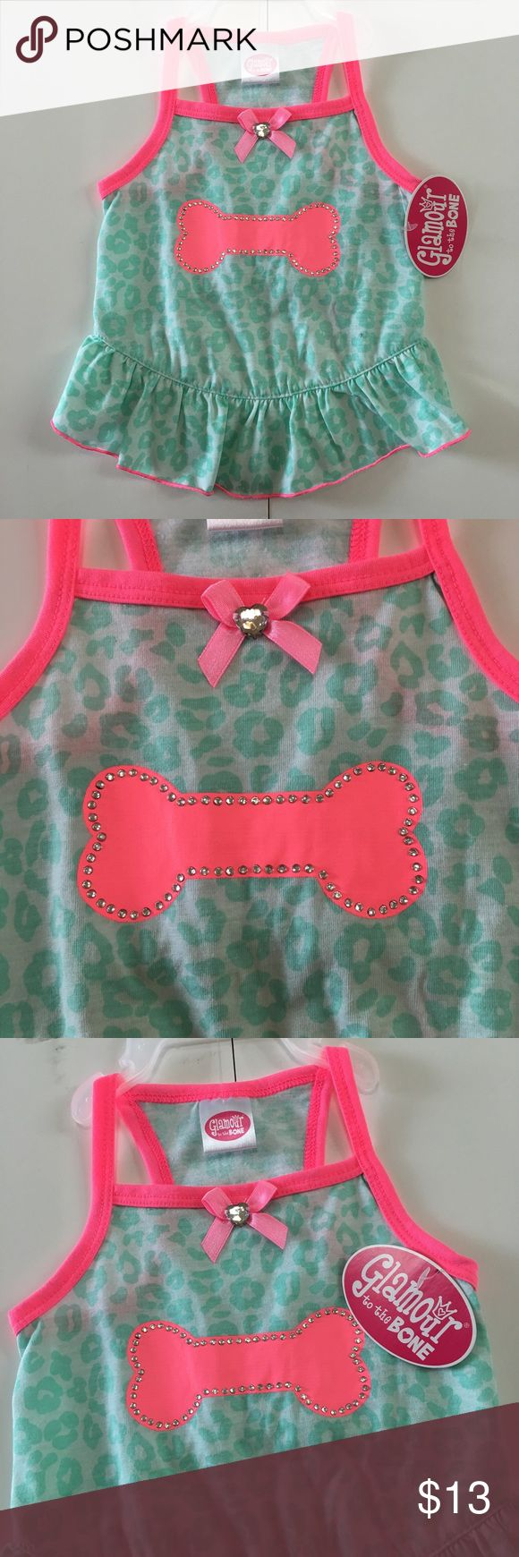 "Dog puppy dress Bone pink green cheetah outfit Dog pet dress outfit ✨ Glamour to the Bone ✨ cutest dress for your little baby girl ✨ mint green cheetah pink trim ✨ pink bone with rhinestones ✨ chest pit to pit 8.5"" , length 10"" ✨ see my other dog dresses Glamour to the Bone Other"