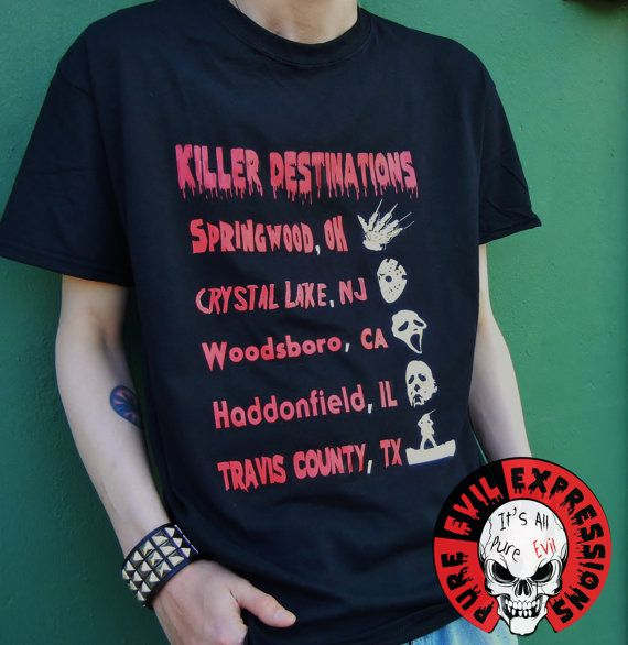 Killer Destinations- Freddy Krueger, Jason Voorhees, Scream, Michael Myers, Leatherface horror tribute shirt