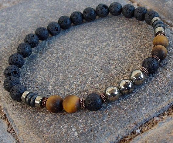 Fortune Men's bracelet Pyrite Tiger eye Lava by LifeForceEnergy