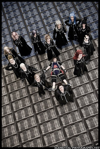 Kingdom Hearts Organization XIII (+ one dead Sora) cosplay group from a few years ago. Still a cool shot. <3