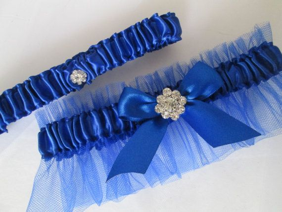 Royal Blue Wedding Garter Set, Royal Blue Prom Garters with Crystal, Bling, Build Your Own, Create Your Own Custom Garters