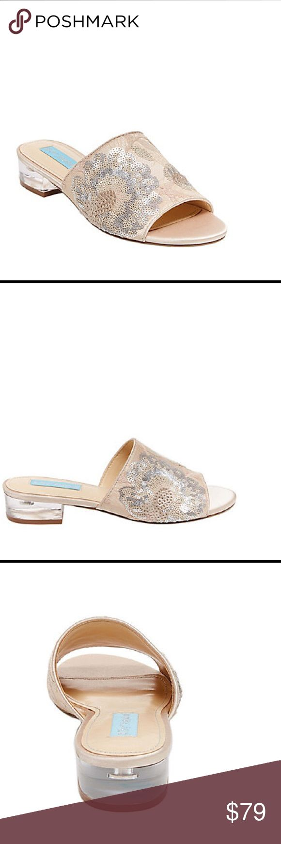 🆕 Blue by Betsey Johnson SR-Ryder mules champagne When it comes to these blush pink slides from Betsey Johnson, luxurious detail is in no short supply. Delicate lace amplified by abstract floral embroidery and matte silver sequins cover the uppers of these marvelous mules, as their lucite block heels provide ultra-stylish support for such a sophisticated look.  Man-made materials.  Heel measures 1.25 inches.  Brand new in box. Retail price $129.  Smoke free and pet free. Betsey Johnson…