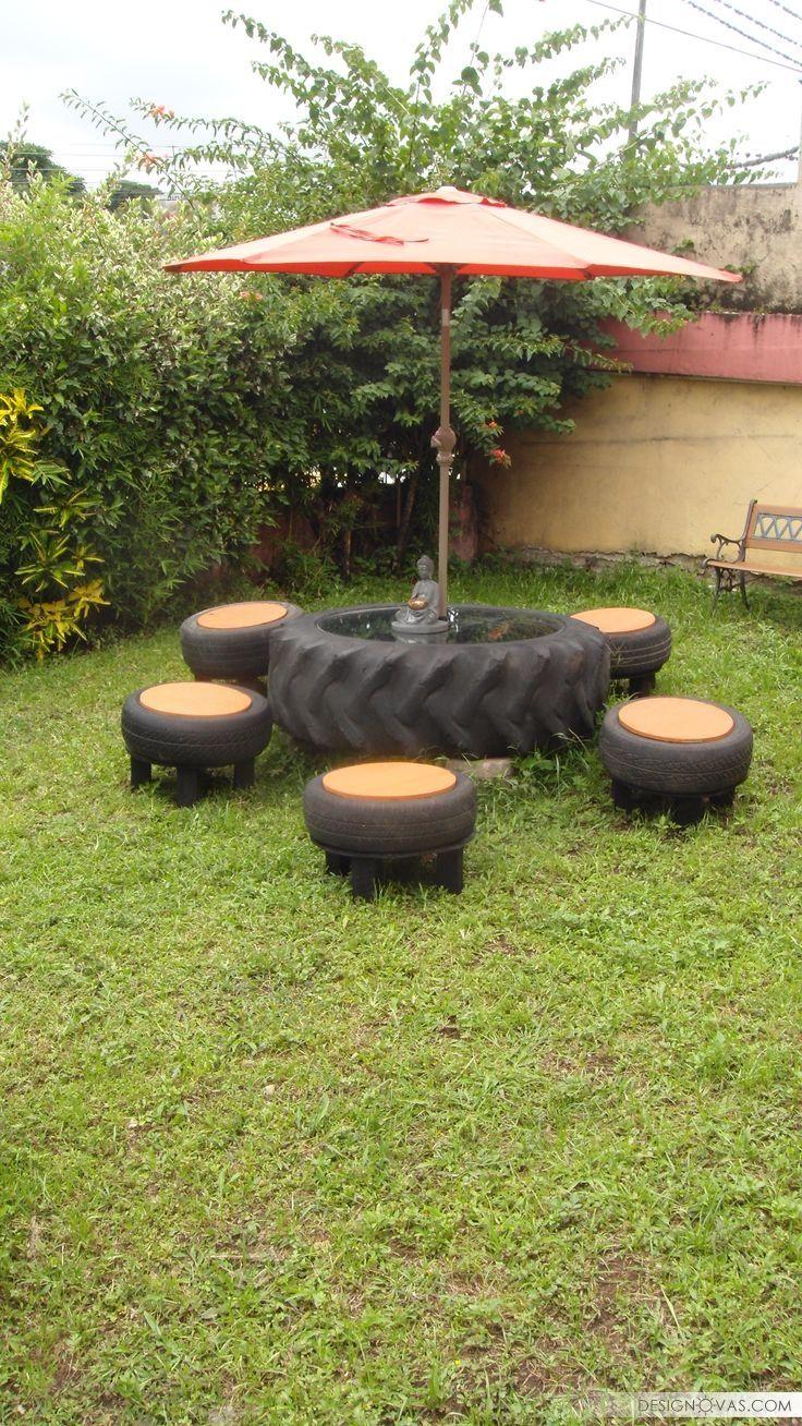 Delightful Recycling Furniture Reuse Old Tires Gate Furniture Umbrella