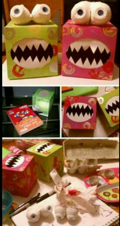Around halloween or for your kids to make a craft with friends, make a Monster out of a tissue box and the bottom of egg cartons!