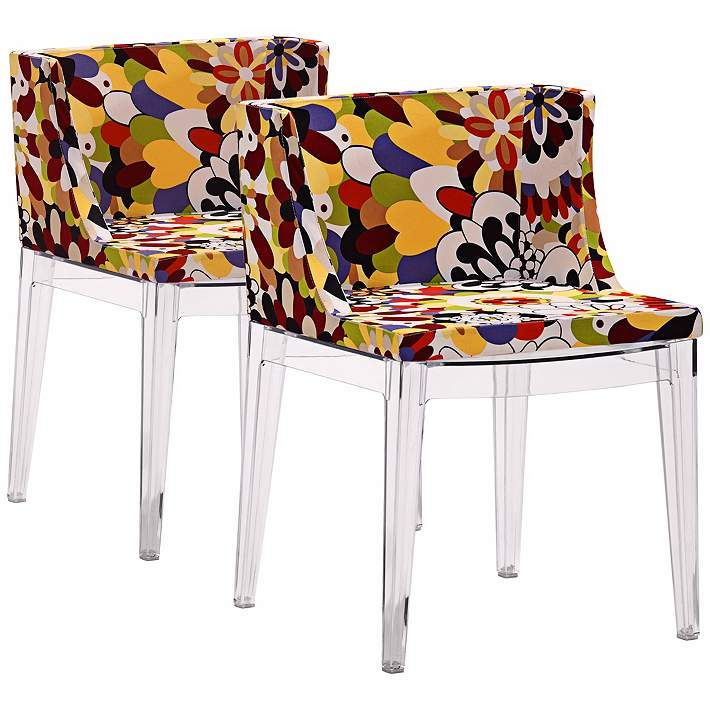 Set of 2 Zuo Pizzaro Multi-Color Floral Dining Chairs - #V7545   Lamps Plus