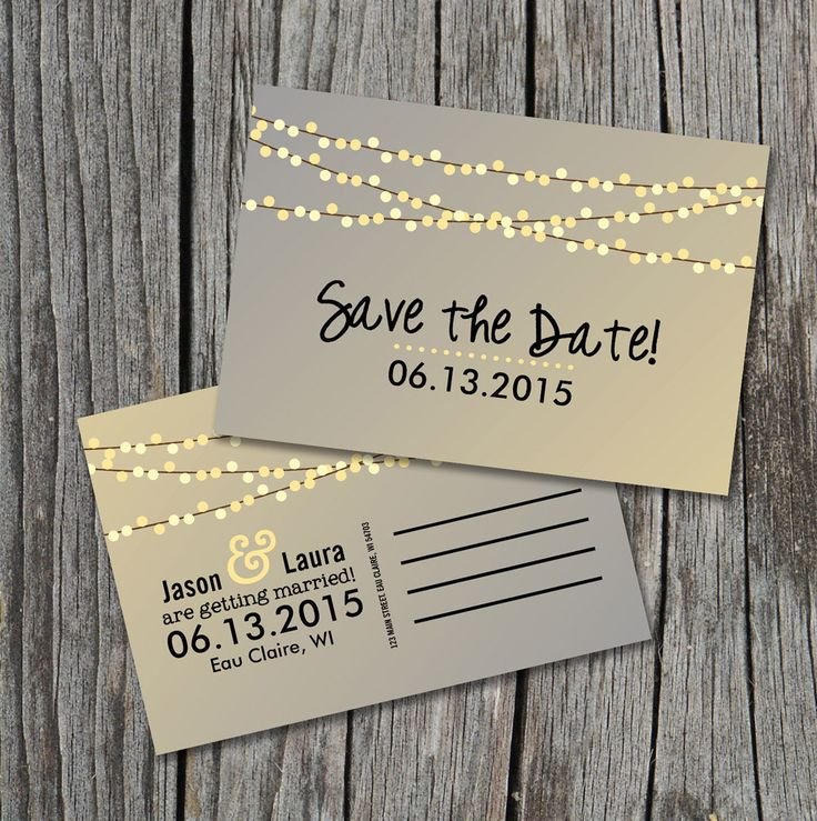 Save the Date Postcard - String of Lights Rustic Wedding by themunch on Etsy https://www.etsy.com/listing/119452941/save-the-date-postcard-string-of-lights