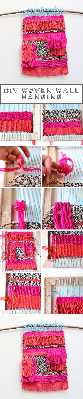 Tapeçaria feita à mão, exibida suspensa na parede. Trabalho desenvolvido por Emma.  Fotografia: http://www.gatheringbeauty.com