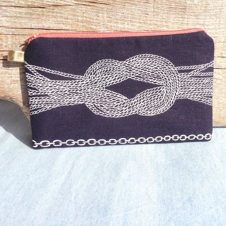 Sailors rope knots zipper pouch,Navy nautical purse,screen printed,navy pouch,travel clutch,make up bag,coin purse,sea lovers,gift under 20 by KARUZZAshop on Etsy https://www.etsy.com/listing/274747900/sailors-rope-knots-zipper-pouchnavy