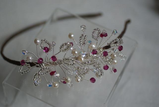 Handmade pink swarovski crystal freshwater pearl side tiara £60.00