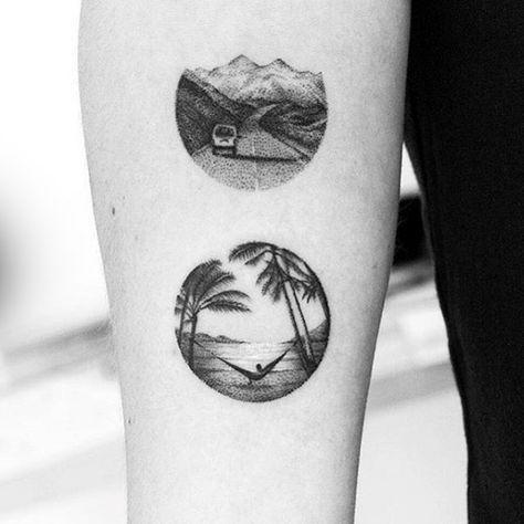 40 kleine Strand Tattoos für Männer – Seashore Design-Ideen  – Tattoos