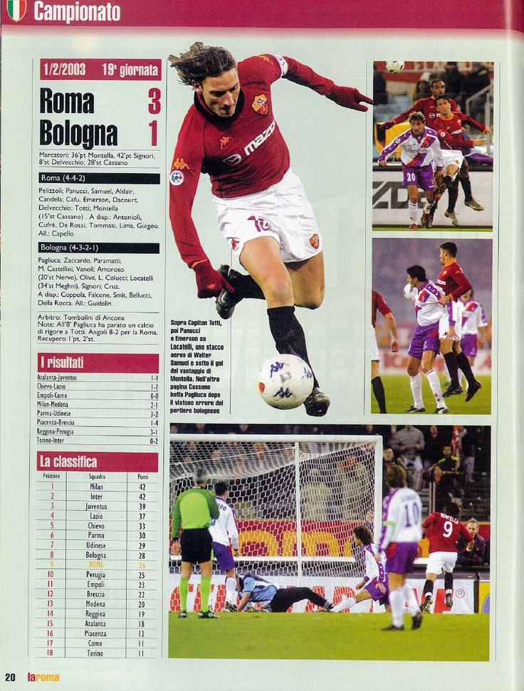 AS Roma 3 Bologna 1 in Feb 2003 at Stadio Olimpico. The action from the Serie A clash.