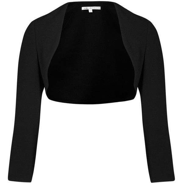 Womens Smart Jackets Paule Ka Black Cropped Crepe Jacket ($335) ❤ liked on Polyvore featuring outerwear, jackets, cropped jacket, open front jacket, paule ka, special occasion jackets and crepe jacket