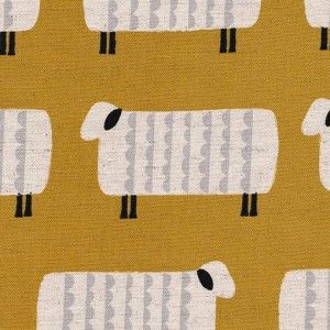 "Tissu Kokka ""moutons"" moutarde"
