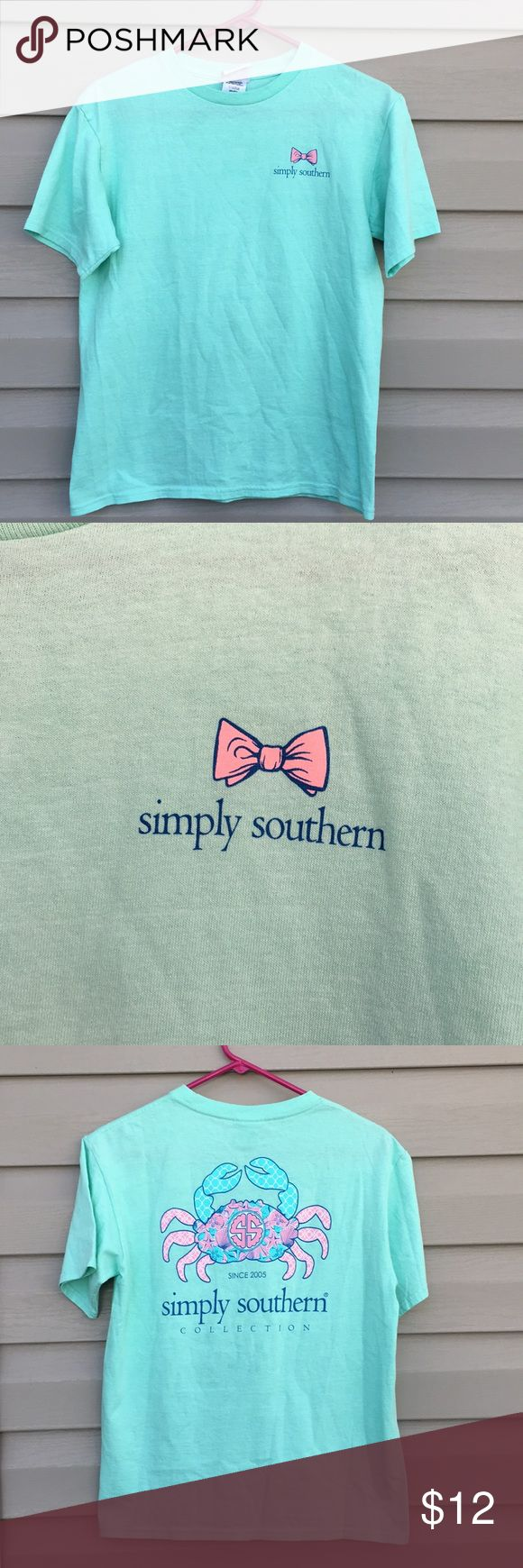 Simply Southern Girls mint green short sleeve tee Very nice girls with logo on front and back with pink and blue crab on back.100% cotton, no fading, stains or holes. EUC Simply Southern Shirts & Tops Tees - Short Sleeve