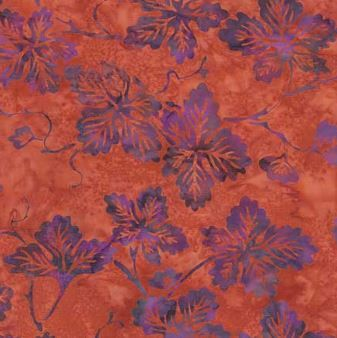FIG LEAF Adobe Coral Rust Orange with Purple by FabricSweets