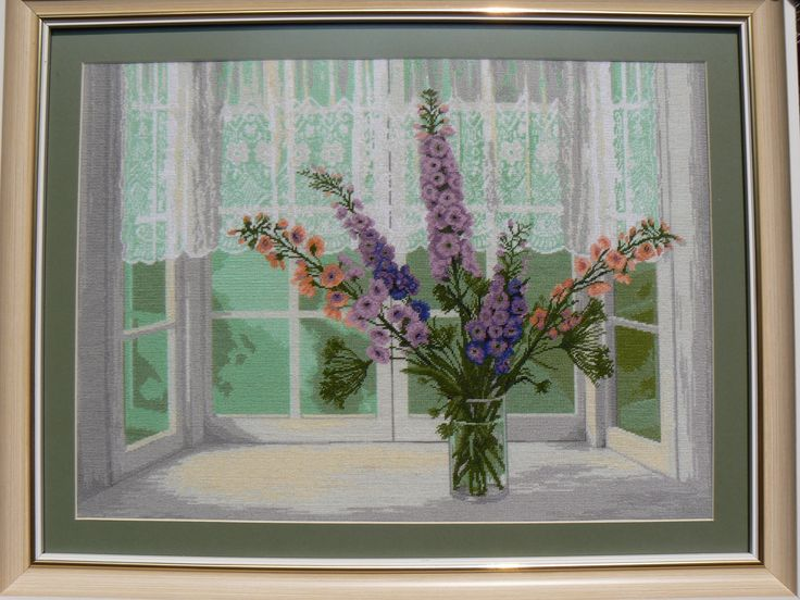 Pastel Tenderness - Hand embroidered gobelin-tapestry. Dimensions are: 30X40 cm (11.8x15.7 in), a total of 25 colors were used.