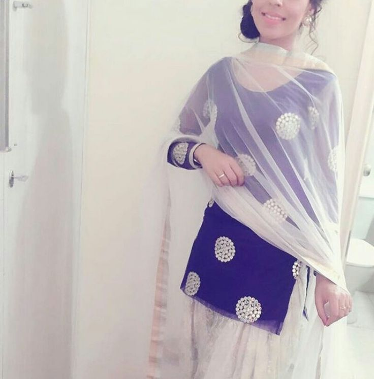 Punjabi suit . Blue white combimation.