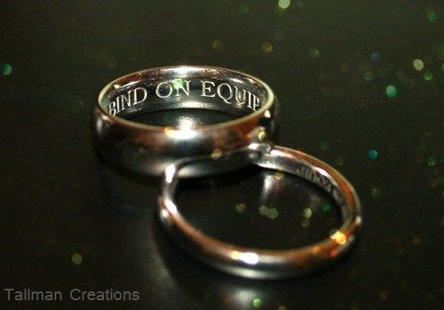 """""""bind on equip"""" inside wedding bands (world of warcraft)...had to ask ryan what it meant and when he told me, i actually kinda melted lol. too cute."""