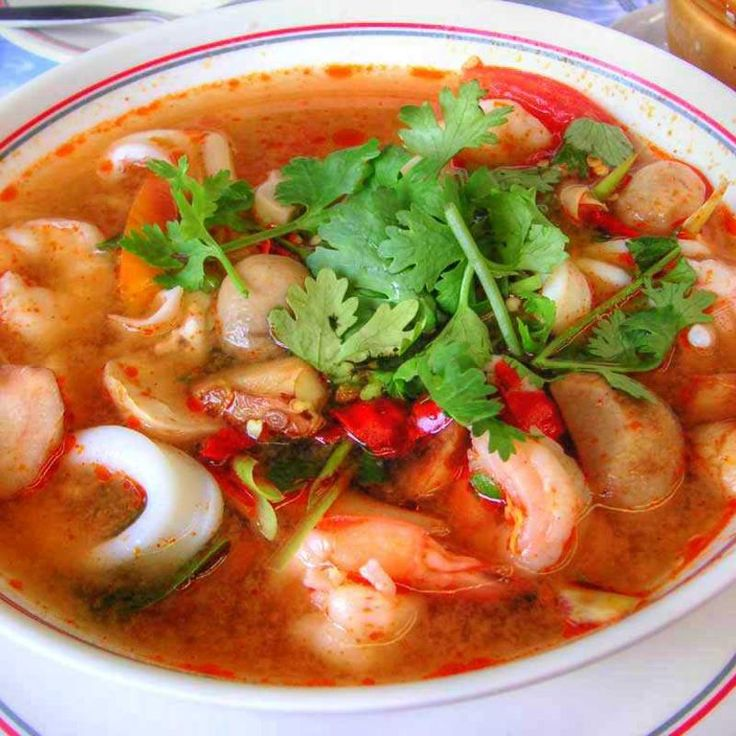 Hot And Sour Soup With Seafood - Racha Cafe - Zmenu, The Most Comprehensive Menu With Photos