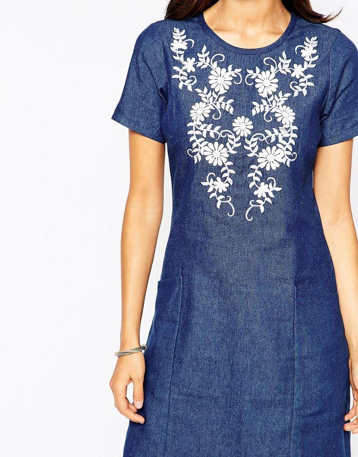Image 3 ofYumi Embroidred Chambray Shift Dress