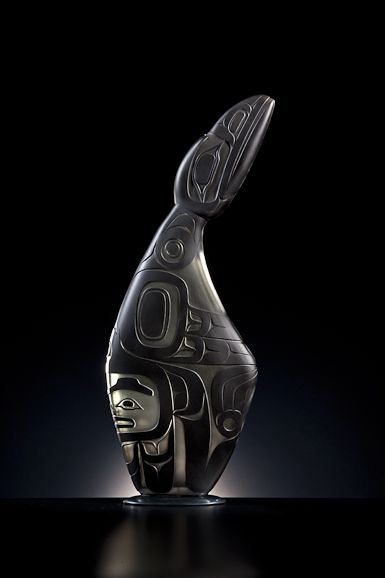 """Raven's Word by Preston Singletary, 29""""h x 11.5""""w x 4""""d, blown and sandcarved glass, 2012"""