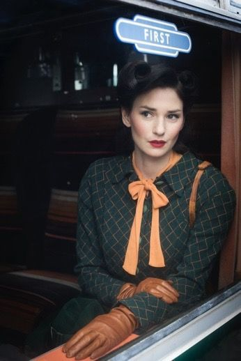 """Vintage inspiration from the 1930's in a first-class railway carriage. [She could be in a scene from Agatha Christie's """"4.50 From Paddington.""""]"""