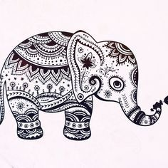 Mosaic Coloring for Adults | elephant mandala © pinterest.com