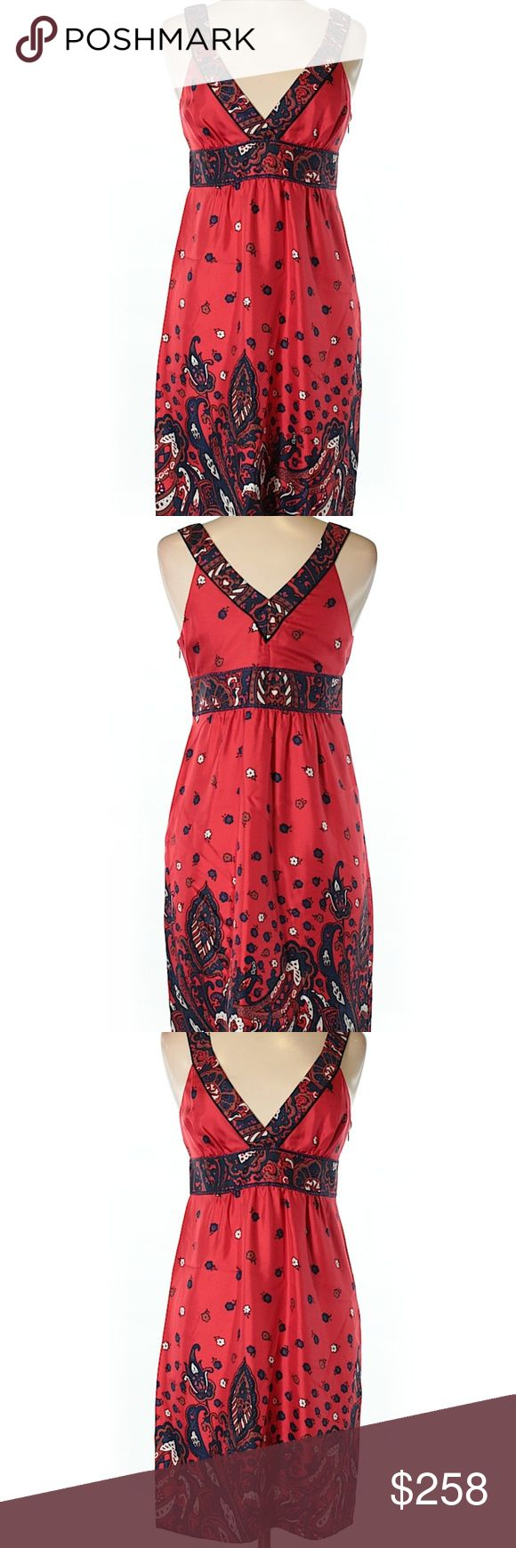 """Tibi Casual Dress Size 6 A-Line silhouette, Short, V-Neckline, Red, Solid, 30"""" Chest, 28"""" Length, 100% Silk, in excellent condition. Tibi Dresses"""