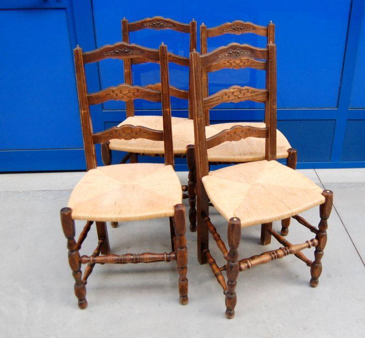 4 sedie provenzali in faggio prima metà 900 decorate