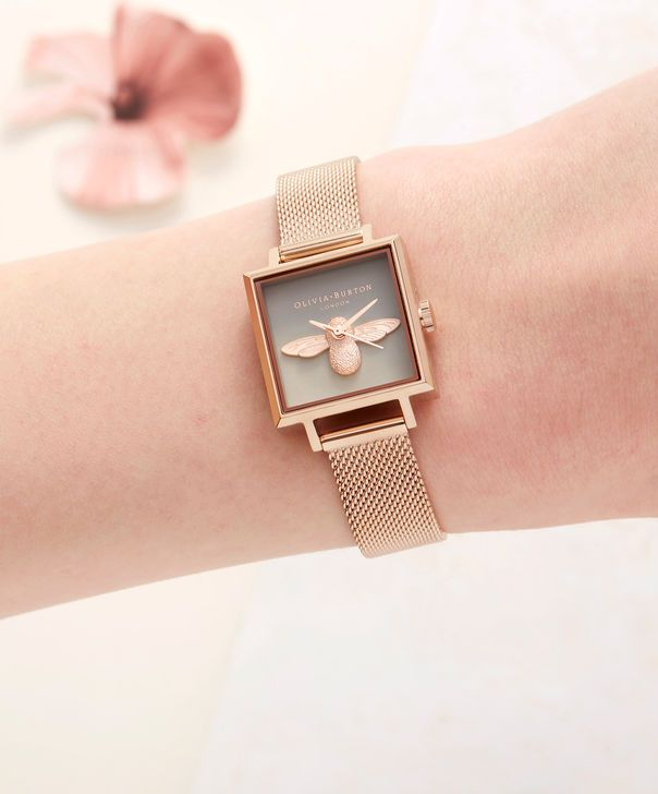 e6b30ebd29a4 OLIVIA BURTON LONDON Square Dial 3D Bee Rose Gold Mesh Watch OB16AM132 –  Midi Square Grey and Rose Gold - Other view