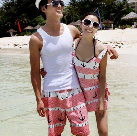 2014 amantes par de anclaje de baño Set de playa maillot de bain biquini bikini brasileño establecen pantalones de los hombres de neopreno traje de baño más del tamaño en Conjuntos de Bikinis de Moda y Complementos Mujer en AliExpress.com | Alibaba Group