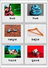 """""""Billedstafet - Rim"""" er en aktivitet til at træne ordgenkendelse   ord der rimer på en aktiv måde.  På hvert ordkort er der skrevet selv ordet, og der er et foto.  Aktiviteten passer til én lektion, og der er 15 sæt rimende ord, som kan anvendes. Der er en lærervejledning, der nærmere beskriver, hvorledes aktiviteten kan gennemføres.  Aktiviteten kan både laves ude, i hallen eller på en gang."""