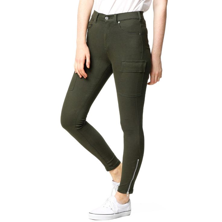 grønn bukse med lomme-detalj str.S