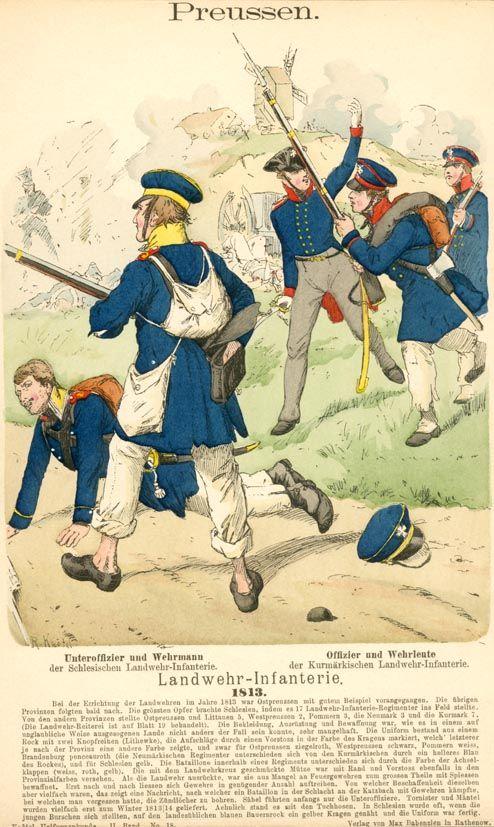 Knötel-Tafel 2/18 . Preußen Landwehr-Infanterie 1813.