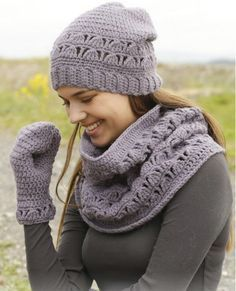 Infinity scarf, hat, and mitten set  I love this.  I need someone with talent to make these for me!