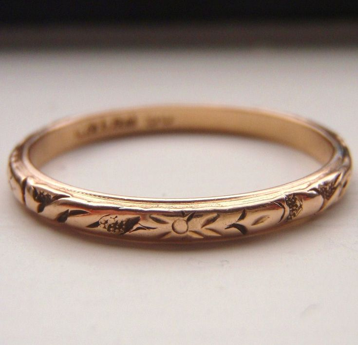 Vintage Solid 15k Rose Gold Wedding Band Works Beautifully With An Engagement Ring Stacked