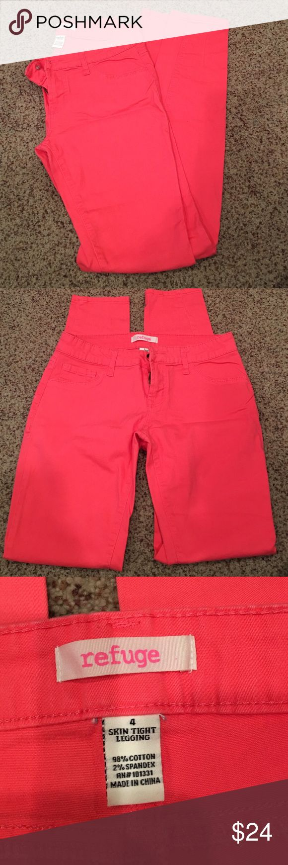 Charlotte Russe Refuge Skinny Jean Charlotte Russe Refuge Skinny Jean. Skin tight legging. Color pink. Size 4. Only worn once, great condition and super comfortable. Charlotte Russe Jeans Skinny